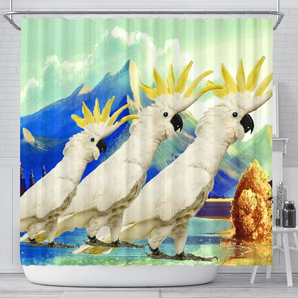 Lovely Cockatoo Parrot Print Shower Curtains-Free Shipping - Deruj.com