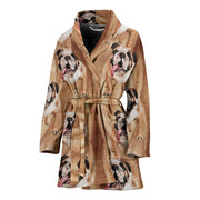 Amazing Bulldog Print Women's Bath Robe-Free Shipping