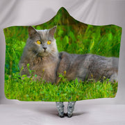 Chartreux Cat Nature Print Hooded Blanket-Free Shipping - Deruj.com