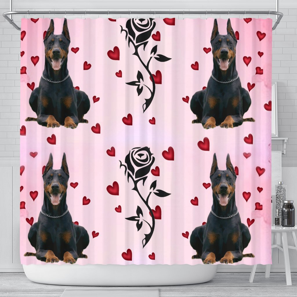 Doberman Pinscher With Rose Print Shower Curtain-Free Shipping - Deruj.com