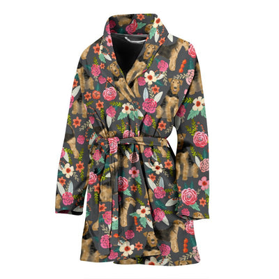 Airedale Terrier Dog Floral Print Women's Bath Robe-Free Shipping - Deruj.com