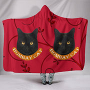 Bombay Cat Print On Red Hooded Blanket-Free Shipping - Deruj.com