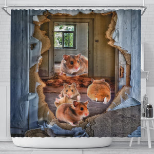 Djungarian Hamster 3D Print Shower Curtains-Free Shipping - Deruj.com