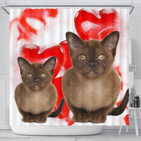 Burmese Cat On Red Print Shower Curtains-Free Shipping - Deruj.com