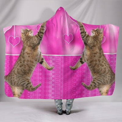 Pixie-bob Cat Catching Love Print Hooded Blanket-Free Shipping - Deruj.com