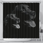 Black Labrador Dog Print Shower Curtain-Free Shipping - Deruj.com