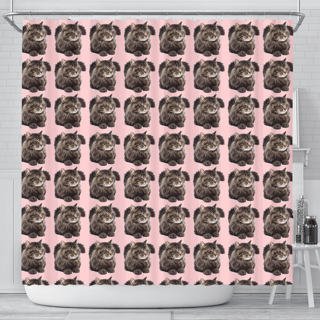 Maine Coon Cat Pattern Print Shower Curtains-Free Shipping - Deruj.com