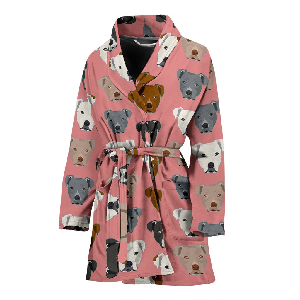 Pit Bull Dog Pattern Print Women's Bath Robe-Free Shipping - Deruj.com