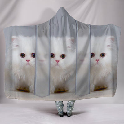 White Persian Cat Print Hooded Blanket-Free Shipping-Special Edition - Deruj.com