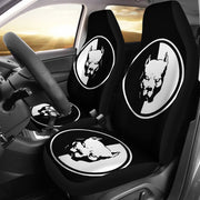 Pit Bull Dog On Black Print Car Seat Covers-Free Shipping - Deruj.com