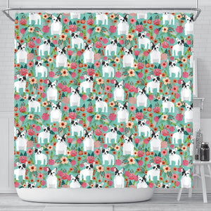 French Bulldog Floral Print Shower Curtains-Free Shipping - Deruj.com