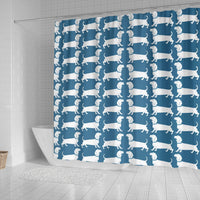 Dachshund Dog Art On SkyBlue Print Shower Curtains-Free Shipping - Deruj.com