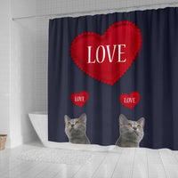 Chartreux Cat Love Print Shower Curtain-Free Shipping - Deruj.com