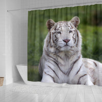 White Bengal Tiger Print Shower Curtains-Free Shipping - Deruj.com