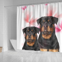 Rottweiler On White Print Shower Curtains-Free Shipping - Deruj.com