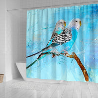 Blue Budgie Parrot (Common Parakeet) Print Shower Curtains-Free Shipping - Deruj.com