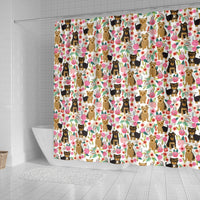 Cute Yorkie Floral Print Shower Curtains-Free Shipping - Deruj.com