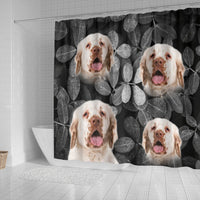 Clumber Spaniel On Black Print Shower Curtains-Free Shipping - Deruj.com