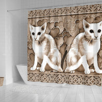 Oriental Shorthair Cat Print Shower Curtain-Free Shipping - Deruj.com