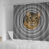 American Bobtail Cat Print Shower Curtain-Free Shipping - Deruj.com