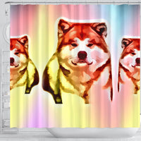 Colorful Akita Dog Print Shower Curtain-Free Shipping - Deruj.com