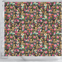 Airedale Terrier Dog Floral Print Shower Curtains-Free Shipping - Deruj.com