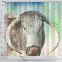 English Longhorn Cattle (Cow) Print Shower Curtain-Free Shipping - Deruj.com
