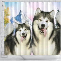 Cute Alaskan Malamute Print Shower Curtains-Free Shipping - Deruj.com