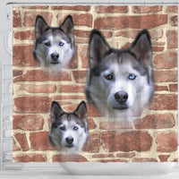 Siberian Husky On Wall Print Shower Curtains-Free Shipping - Deruj.com