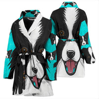 Border Collie Dog Art Print Women's Bath Robe-Free Shipping - Deruj.com