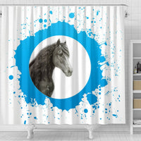 Friesian horse Print Shower Curtain-Free Shipping - Deruj.com