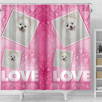 Pomeranian Dog Love Print Shower Curtain-Free Shipping - Deruj.com