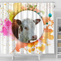 Colorful Hereford Cattle (Cow) Print Shower Curtain-Free Shipping - Deruj.com