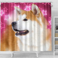 Akita On Pink Print Shower Curtains-Free Shipping - Deruj.com