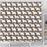 Sealyham Terrier Dog Pattern Print Shower Curtains-Free Shipping - Deruj.com