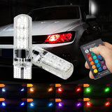 2Pcs T10 5050SMD 6LED RGB Auto Car Wedge Side Light Lamp W/Remote Controller New CSL2017
