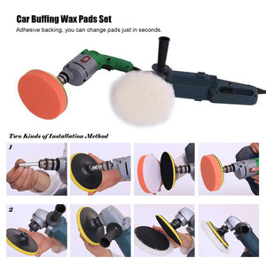 "7pcs 3"" Car Compound Drill Polishing Polish Buffer Buffing Cleaning Wax Pads Set Tool"
