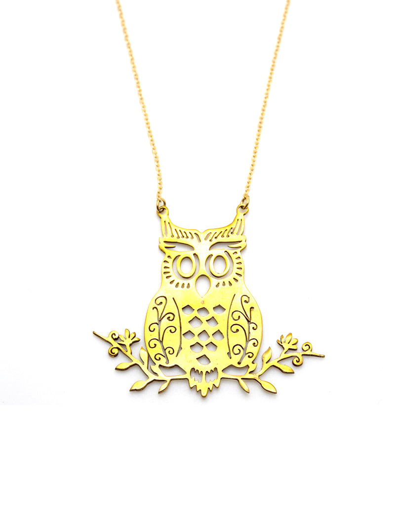 Hansel & Smith - Owl on Branches Necklace