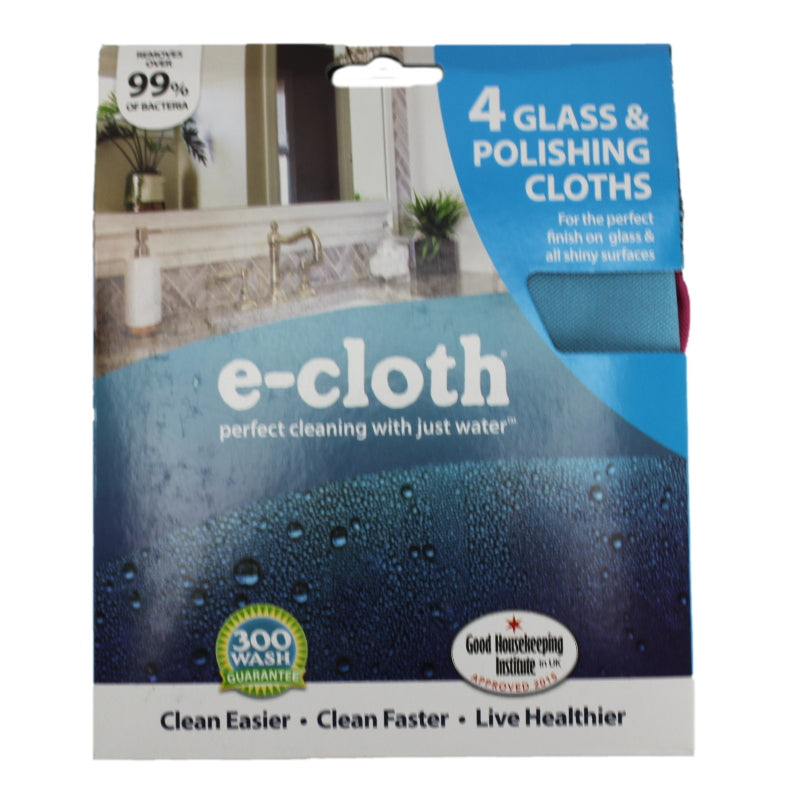 e-Cloth, Assorted Colors Glass & Polishing Cloths 4Pk Part 10904