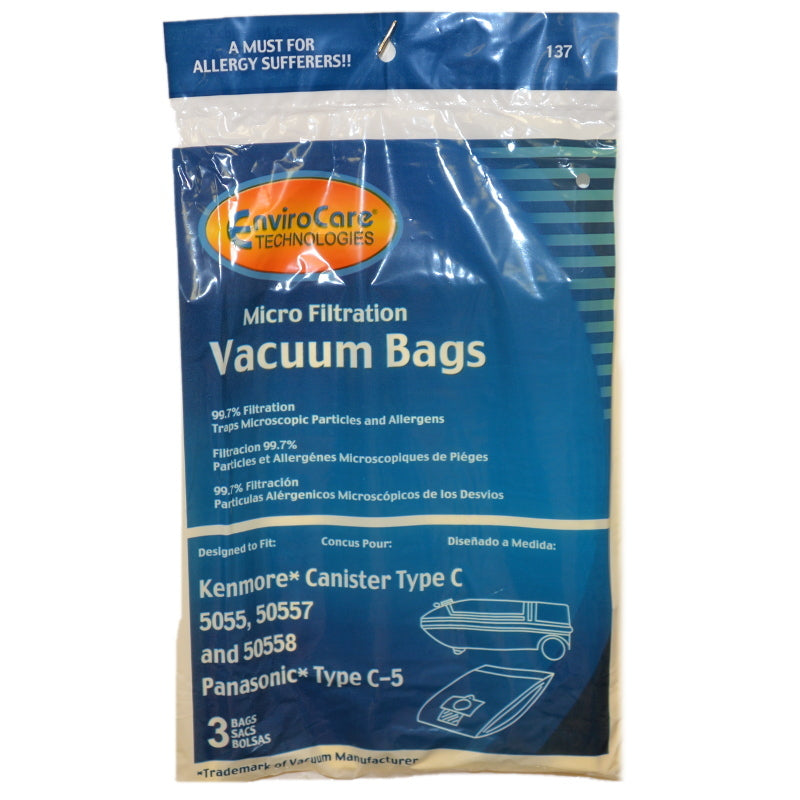 Kenmore Type C, 5055 Canister Vacuum Bags 3PK Part 137