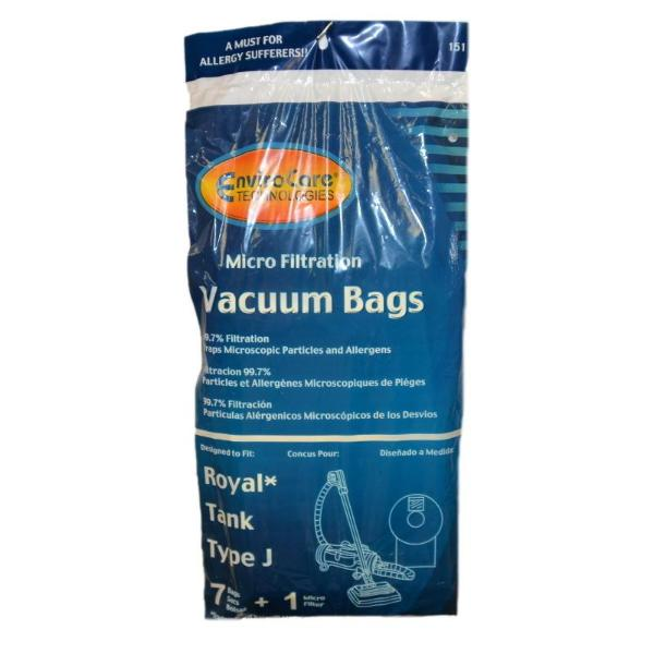 Royal Type J Pony Tank Vacuum Bags  7pk +1 Filter Part 151