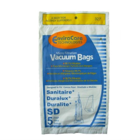 5 Pk Sanitaire / Eureka Upright Micro Filter Type SD Bags Part 327