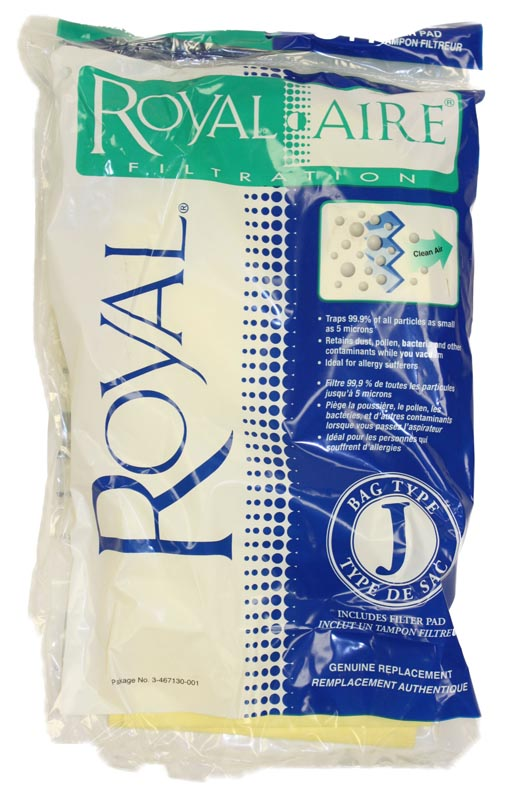 3pk Royal Type J RoyalAire Filtration Vacuum Bags Part 3467130001