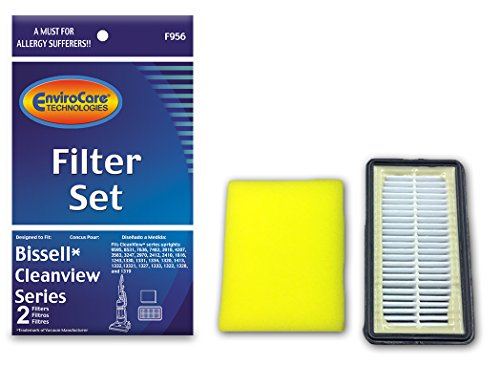 Bissell Replacement Filter Set for Bissell Cleanview Series Uprights 1 HEPA Filter and 1 Foam Filter Part F956