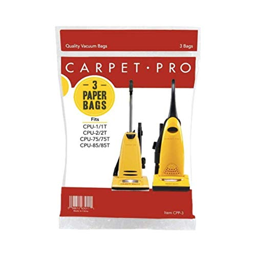 Genuine Carpet Pro Heavy Duty & Standard Upright Bags 3 PK Part  06.153, CPP-3