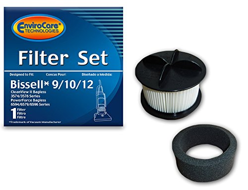 Bissell 9/10/12 HEPA Vacuum Filter Pleated Micro Inner Filter and Outer Foam Filter Generic Part F955, 955