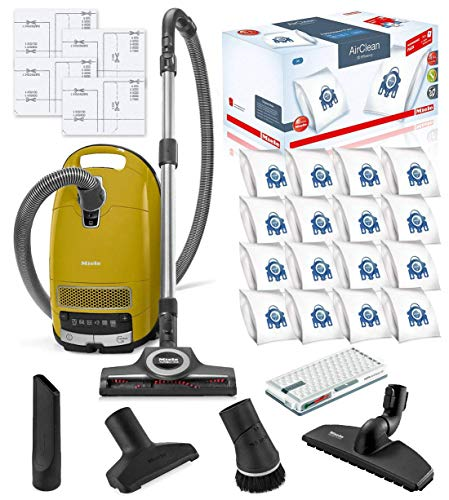 Miele Complete C3 Calima Canister HEPA Vacuum Cleaner + STB 305-3 Turbobrush Bundle + Miele Performance Pack Type GN AirClean SKU 41GFE036USA, 10123210