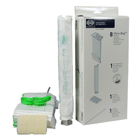 Sebo HEPA Service Box for X Series Vacuum with 8 Ultra Bags, Exhaust Filter and HEPA Microfilter Part 5827ER