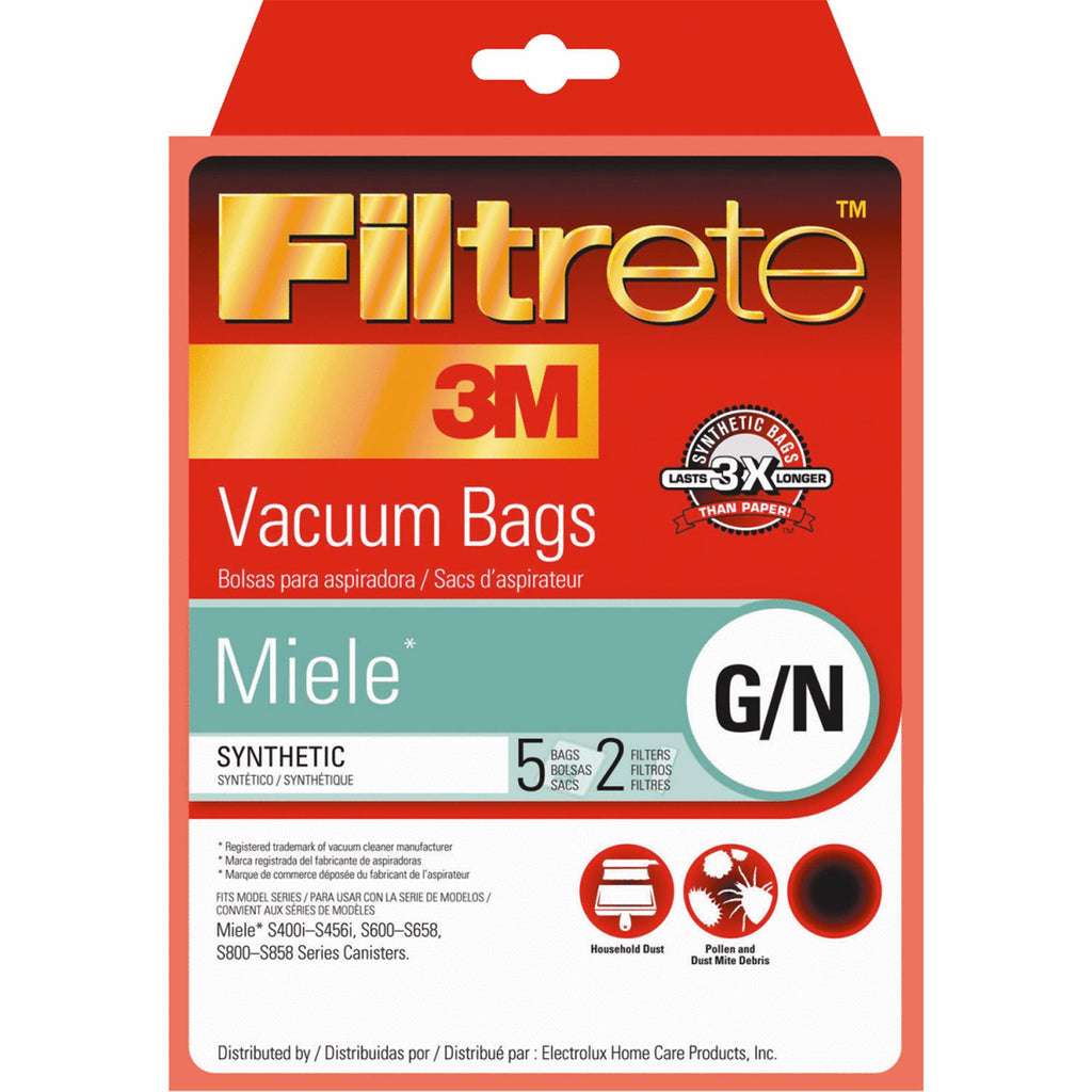 Generic Miele Allergen 5 Vacuum Bags + 2 Filters, Type GN, by Filtrete 3M, Part 68705A-6, 68705A