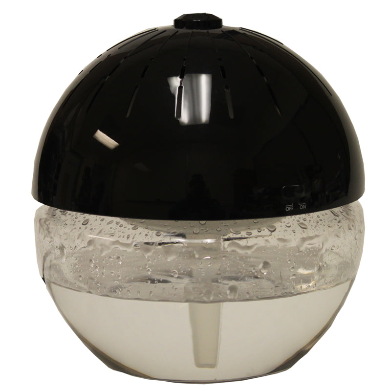 EcoGecko Earth Globe- Glowing Water Air Cleaner and Revitalizer with Lavender Oil, Black, Part 75606-BLACK